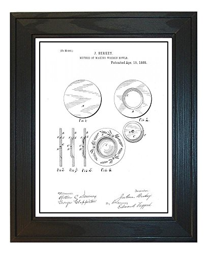 Method Of Making Wooden Bowls Patent Art White Matte Print w