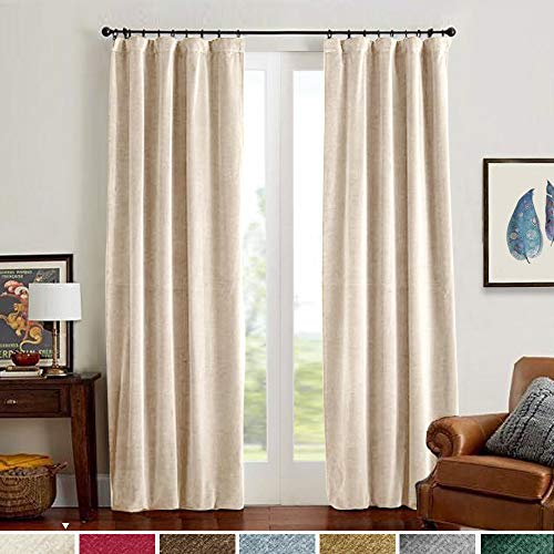 Velvet Curtain Panels Beige Rod Pocket Super Soft Luxury Drapes Home Decor for Bedroom Window Curtains Thermal Insulated Rod Pocket 2 Panels 84 Inches ()