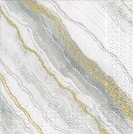 Pack of 40 Caspari Marble Paper Cocktail Napkins in Grey