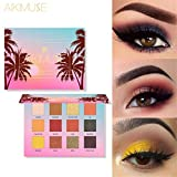 Jinjin 12 PC Shimmer Glitter Eye Shadow Set,Matte Shimmer Velvet Texture Blendable Long Lasting Eyeshadow (Multicolor)