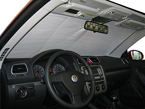 The Original Windshield Sun Shade, Custom-Fit for Volkswagen Eos Convertible 2007-2015, Silver Series