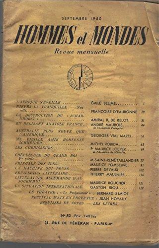 Hommes et Mondes - Semptembre 1950 Tome 13