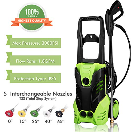 Tagorine Electric Pressure Washer, Power Washer with 3000 PSI,1.8GPM,5Quick-Connect Nozzles,Longer Cables and Hoses and Detergent Tank,for Cleaning Cars, Houses Driveways, Patios,and More