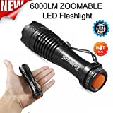 Exteren Mini LED Flashlight, Super Bright 2000 Lumens Zoomable Q5 AA/14500 3 Modes Flashlight Torch Lamp for Outdoor (A)