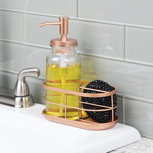 mDesign Dispensador de jabon liquido o lavavajillas con porta estropajos - Dosificador de jabon de cristal con guardaestropajos doble - Accesorio de baño o ...