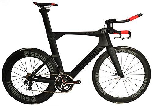 Stradalli Black TT Full Carbon Time Trial Triathlon TTR-8 Bike. Shimano Ultegra 8050 Di2 11 Speed 50-85mm Carbon Wheels - 56cm (Bike Trials Wheels)