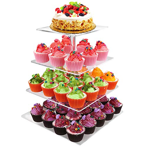 Gifbera 4-Tier Square Cake Cupcake Stand - Luxury Birthday Wedding Party Dessert Display Holder Tower with Base ()