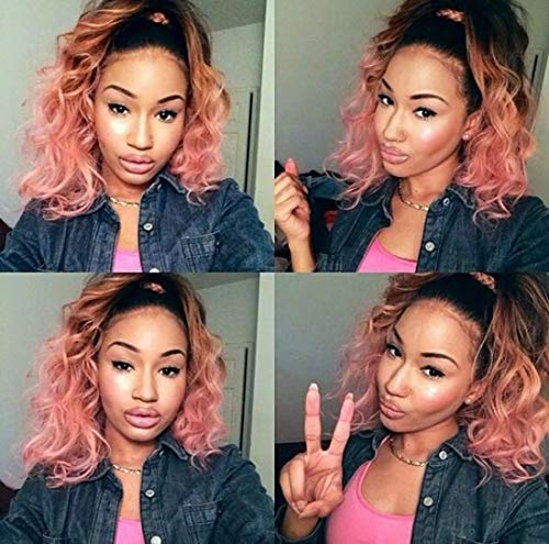 Glueless Short Bob Wavy Lace Front Wigs for Women Ombre Dark Roots to Mixed Pink Synthetic Hair Wig Heat Resistant Middle Parting 14 inch -