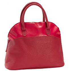 Women's Tone on Tone Fashion Faux Leather Top Handle Handbag Purse Red Red, One Size