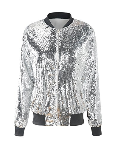 HAOYIHUI Women's Mermaid Sequin Lightweight Zipper Bomber Jacket (Medium, Silver)