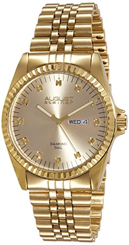 August Steiner Men's AS8047YG Diamond Stainless Steel Bracelet Watch