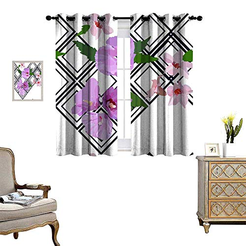 Suchashome Room Darkening Curtains for Bedroom Floral Seamless Pattern with Hibiscus Flowers and Leaves Botanical Illustration Hand Painted Textile Print Fabric Swatch Wrapping Paper Drapes W72 x ()
