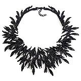 Zthread New Leaf Metal Vintage Big Brand Statement Necklace Women Costume Accessories Necklaces & pendants Maxi Collar Necklace (Black)