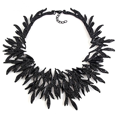 Zthread New Leaf Metal Vintage Statement Necklace Women Costume Accessories Necklaces & Pendants Maxi Collar Necklace (Black)