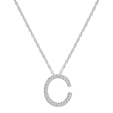 Amazon 14k white gold diamond c initial pendant 16 necklace 14k white gold diamond quotcquot initial pendant aloadofball Gallery