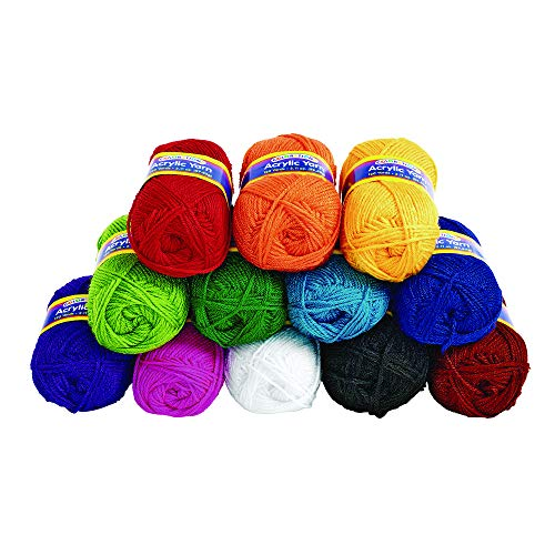 Colorations Acrylic Yarn Rainbow Colors Variety Pack Arts and Crafts Material for Kids and Classrooms (Set of 12 Colors) by Colorations (Image #1)