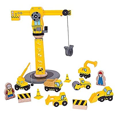 Bigjigs Rail Wooden Crane Construction Set - Other Major Wood Rail Brands are Compatible: Toys & Games