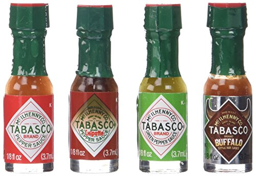 mini tabasco gift tin  four miniature 1  8th ounce bottles of tabasco pepper sauce all packaged