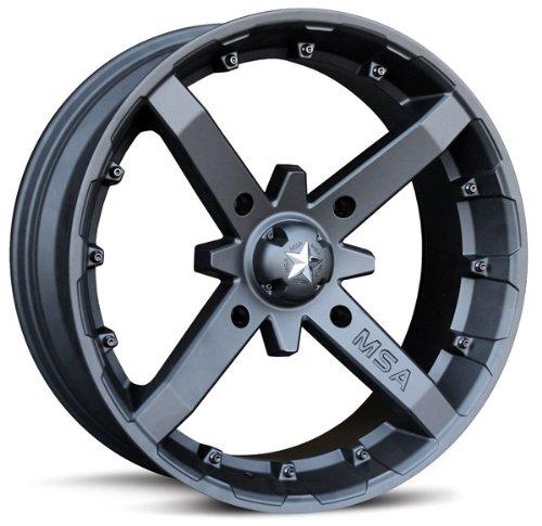 Bundle - 9 Items: MSA Black Battle 12'' UTV Wheels 26'' Grim Reaper Tires [4x137 Bolt Pattern 12mmx1.25 Lug Kit] by Powersports Bundle (Image #1)