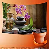 SOCOMIMI Decorative Wall Tapestry Warm Welcoming Spa Reception Big Stones Candles Scent Flowers Print Purple Black and Decor Bedding
