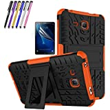 """Windrew Heavy Duty rugged impact Hybrid Case with Build In Kickstand Protective Case For Samsung Galaxy Tab A 7.0"""" SM-T280 7.0 Inch Tablet + Screen Protector Film and Stylus Pen (Orange)"""