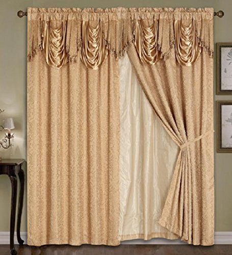 Embroidered Curtain attached Backing Valance product image