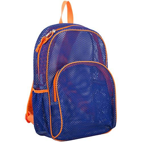 Eastsport Mesh Backpack With Padded Shoulder Straps, Indigo/Blaze Orange Trim