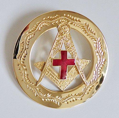 Masonic Square & Compasses With Red Enamel Cross Gilt Past Masters Jewel - - Gilt Jewel