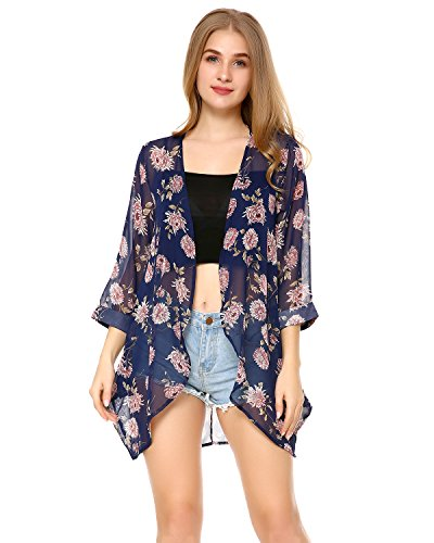 Floral Print Kimono (Mixfeer Women's Chiffon Floral Print Casual Loose Sheer Open Front Kimono Cardigan Capes Beach Cover Up)