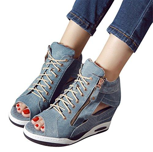 Sandali Con Zeppa In Jeans Asimmetrici Da Donna, Cerniera Nascosta Con Cerniera E Scarpe Da Ginnastica In Tela Estiva Blu