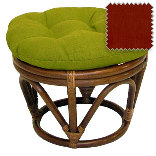DCG Stores 18-Inch Bali Rattan Papasan Footstool with Cushion - Solid Outdoor Fabric, Paprika Exclusive ()