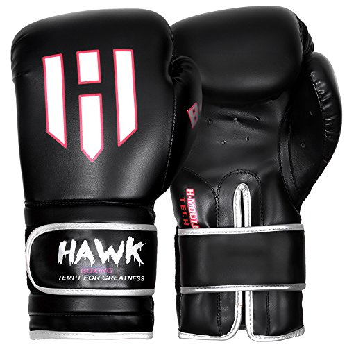 Hawk Boxing Leather Boxing Gloves Gel Training Gloves Bag Gloves Muay thai UFC Gloves, 1 YEAR WARRANTY!!!! (Black, 14oz)