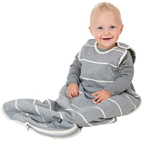 WINTER DUVET ORGANIC MERINO baby Sleep Sack / Sleep Bag, 0-2 yrs old, (Grey Stripe) by Sweet Cheeks Merino