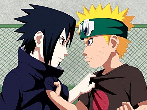 WV6101 Naruto vs Sasuke Uchiha Uzumaki Anime Manga Art 16x12 Print POSTER
