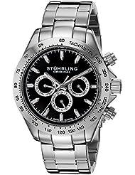 Stuhrling Original Men's 564.02 Octane Concorso Raceway Swiss Quartz Multifunction Black Dial Watch