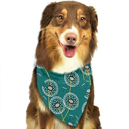FRTSFLEE Dog Bandana Make A Dandelion Wish Green Scarves Accessories Decoration for Pet Cats and Puppies -