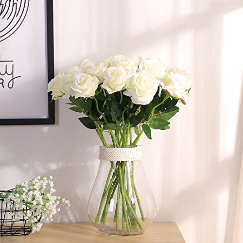 JUSTOYOU 10pcs Artificial Rose Silk Flower Blossom Bridal Bouquet for Home Wedding Decor(White)