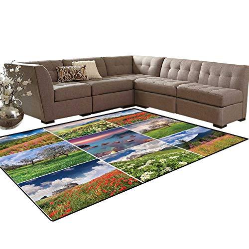 Summer Kids Carpet Play-mat Rug Collage with Nine Different Square Framed Freshening Summer Landscapes Rural Nature Room Home Bedroom Carpet Floor Mat 6'6