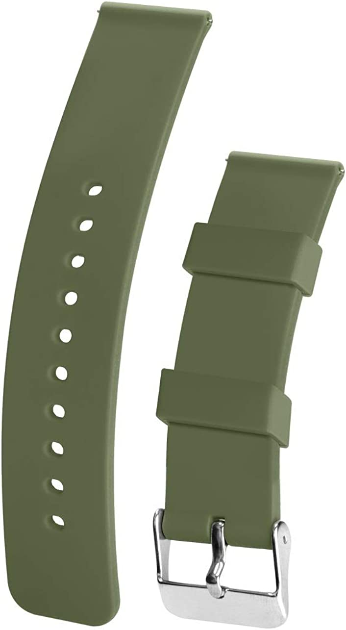 Silicone Watchband Strap,Quick Release,Soft Rubber Surface with Textured Non-Slip Back,Waterproof & Washable, Color & Size Variety,