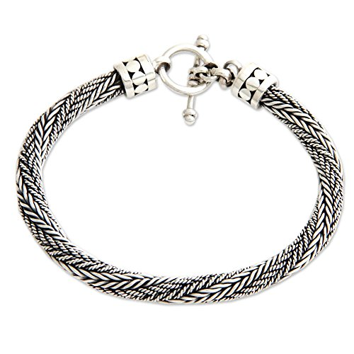NOVICA .925 Sterling Silver Men's Braided Chain Bracelet, 8.75