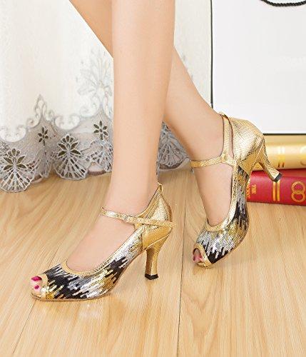 Nero 7 Heel e EU MGM Black Jazz Gold Joymod Donna 5cm 35 Moderno 8vAXn