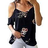 #10: Keepfit Off Shoulder T-Shirt, Women Ladies Floral Tops Blouse Chiffon Short SleeveTee Shirt
