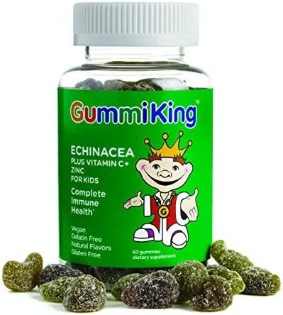 Gummi King Echinacea Plus Vitamin-C Zinc Supplement, Strawberry Lemon Orange Grape Cherry Grapefruit, 60 Count