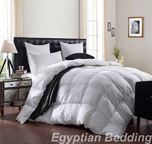 LUXURIOUS 1200 Thread Count GOOSE DOWN Comforter , King Size, 1200TC - 100% Egyptian Cotton Cover, 750 Fill Power, 50 Oz Fill Weight, White Color - Egyptian Cotton Comforter