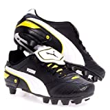 Kid's Puma Esito Finale R HG JR Black White Yellow Soccer Cleats 102016 01 GS (KIDS 4.5, Black White Yellow)