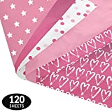 Pink Party Gift Wrapping Tissue Paper Set - 120 Sheets - Patterned and Solid Color