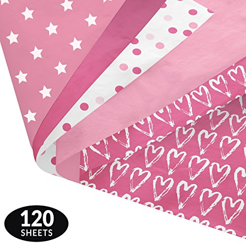 Pink Party Gift Wrapping Tissue Paper Set - 120 Sheets - Patterned and Solid Color - Patterned Tissue
