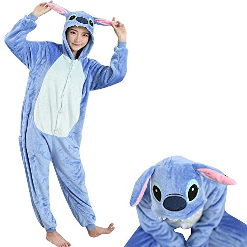 JudyBridal Unisex Costume Cosplay Adult Onesie Pajamas Lounge Wear S Blue (Couples Cosplay Costumes)