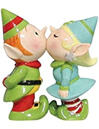 Gain 3.75 Inch Green/Blue Elves Kissing on Mouth Salt and Pepper Shakers compare
