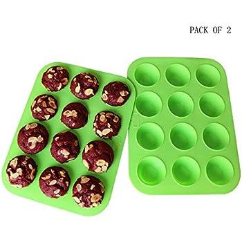 Mini Muffin Pan Silicone Mini Cupcake Silicone Molds Silicone Cupcake Baking Cups Silicone Cupcake Pan, 12 Round Mini Muffin Pan Set of 2 Packs